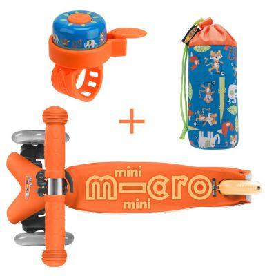 Komplet skiro mini oranžen & držalo za plastenke & zvonček džungla