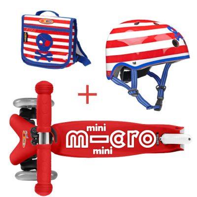 Komplet skiro mini rdeč & nahrbtnik & čelada S pirati