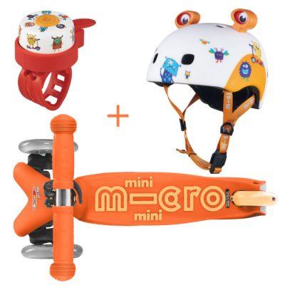 Komplet skiro Mini oranžen & čelada & zvonček pošasti