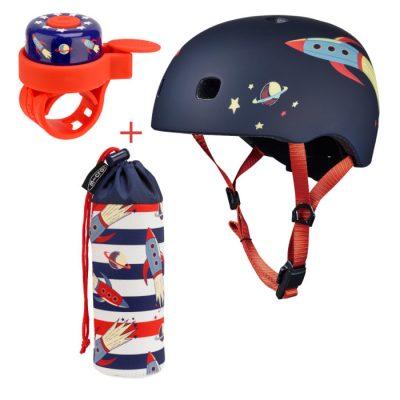 Komplet čelada & zvonček & držalo za plastenke rakete