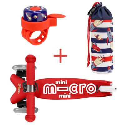 Komplet skiro mini rdeč & zvonček & držalo za plastenke rakete