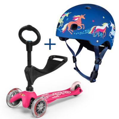 Komplet Mini 3v1 rožnat & čelada samorogi