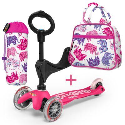 Komplet skiro mini 3v1 roza & torbica & držalo za plastenko slončki