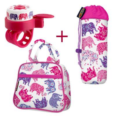 Komplet zvončka & torbice & držala za plastenke slončki