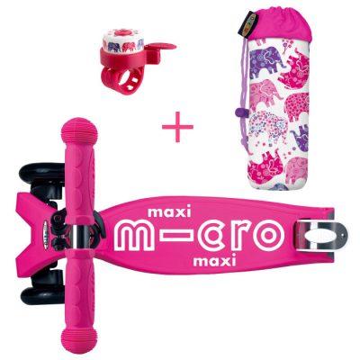 Komplet skiro maxi roza & zvonček & držalo za plastenke slončki