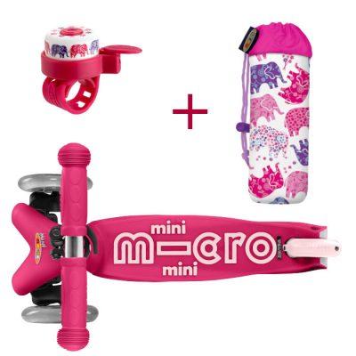 Komplet skiro mini roza & zvonček & držalo za plastenke slončki