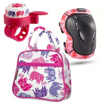 Komplet ščitniki XS & zvonček & torbica slončki